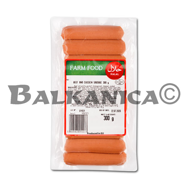 300 G SALCHICHAS CON TERNERA Y POLLO FARM FOOD