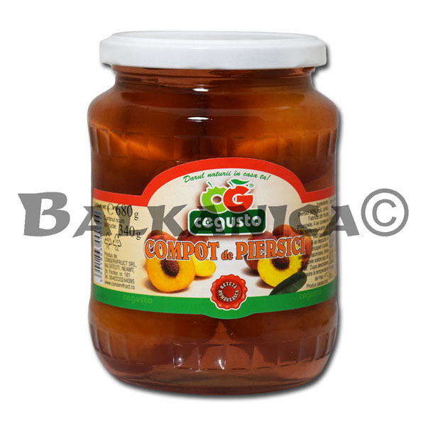 680 GR COMPOTE WITH PEACHES CEGUSTO CONSERVFRUCT