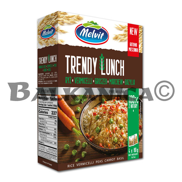 320 G TRENDY LUNCH RICE VERMICELLI PEAS CARROT BASIL MELVIT