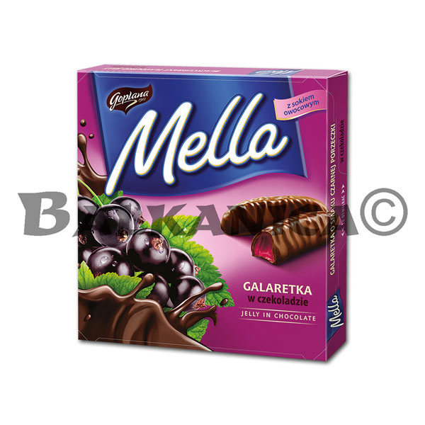 190 GR JELLY IN CHOCOLATE BLACK CURRANT MELLA GOPLANA