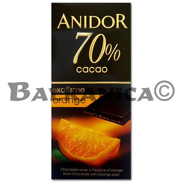 85 GR CHOCOLATE BITTER 70% WITH ORANGE ANIDOR KANDIA