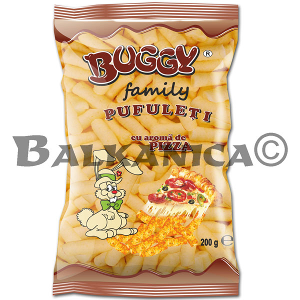 200 G CORN PUFFS PIZZA TASTE FAMILY BUGGY