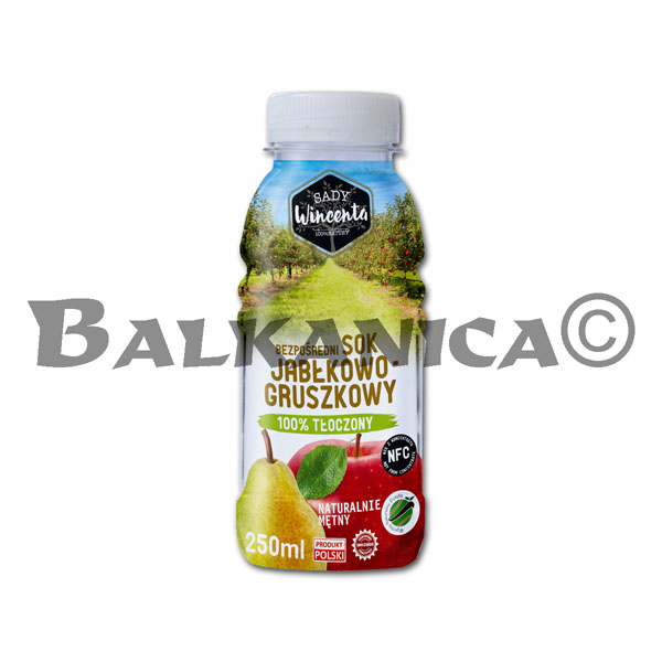 0.25 L JUICE NATURAL APPLE AND PEAR SADY WINCENTA