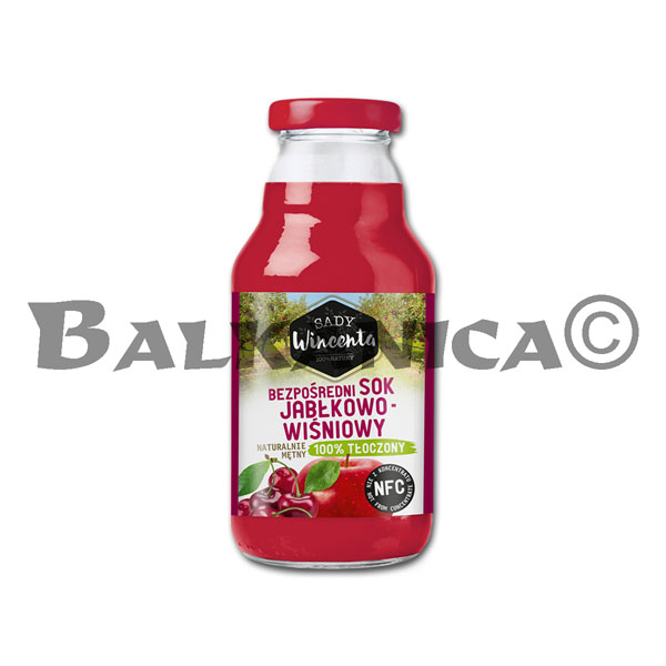 0.33 L JUICE NATURAL APPLE AND SOUR CHERRY SADY WINCENTA