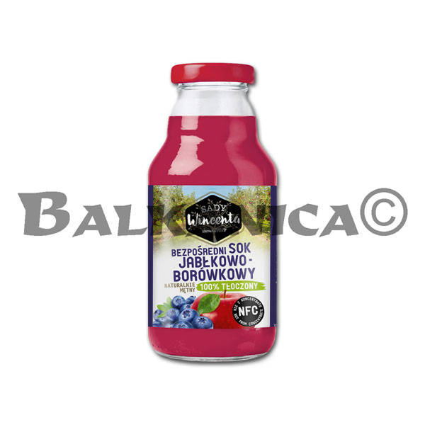 0.33 L JUICE NATURAL APPLE AND BLUEBERRY SADY WINCENTA