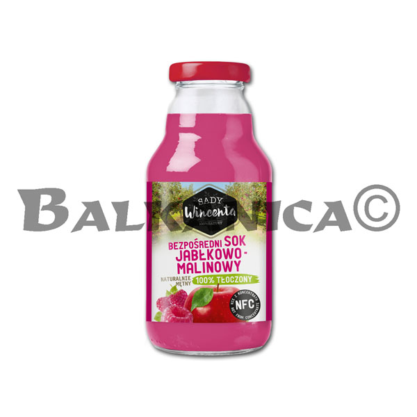 0.33 L JUICE NATURAL APPLE AND RASPBERRY SADY WINCENTA