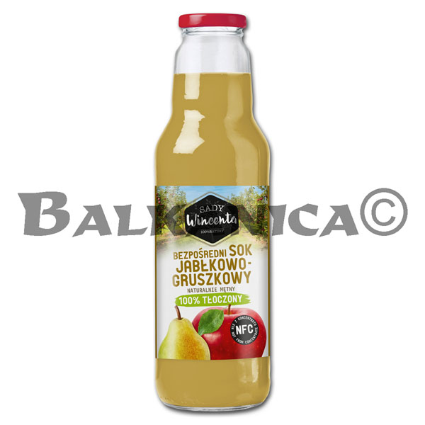 0.75 L JUICE NATURAL APPLE AND PEAR SADY WINCENTA