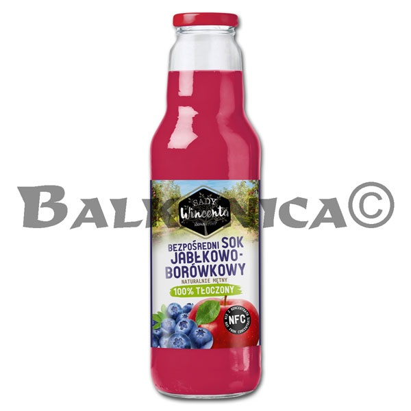 0.75 L JUICE NATURAL APPLE AND BLUEBERRY SADY WINCENTA