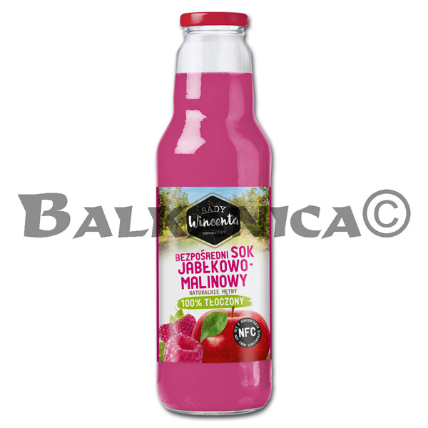 0.75 L JUICE NATURAL APPLE AND RASPBERRY SADY WINCENTA