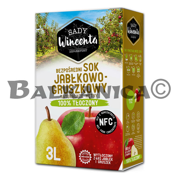 3 L JUICE NATURAL APPLE AND PEAR SADY WINCENTA
