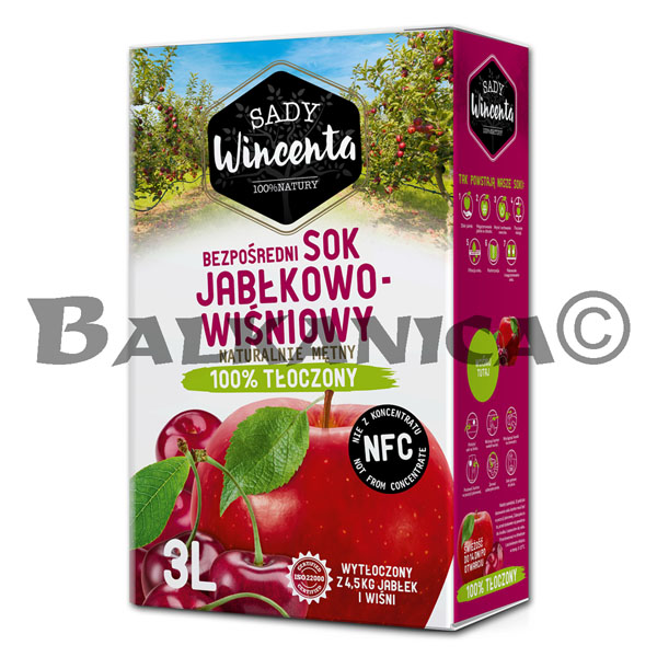 3 L JUICE NATURAL APPLE AND SOUR CHERRY SADY WINCENTA